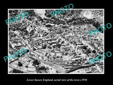OLD LARGE HISTORIC PHOTO OF LEWES SUSSEX ENGLAND, AERIAL VIEW OF TOWN c1950 2