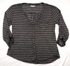 Maurices Womens Blouse Shirt Button Front Long Sleeve - Black, White Stripe Sz M