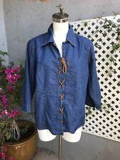 STONEBRIDGE Blue Cotton Denim Jean Shirt Top Brown Leather Lace Up Front Sz 18W