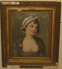 Antique 'GIRL in dress w ROSE' PORTRAIT French School OIL PAINTING signed PIGALE