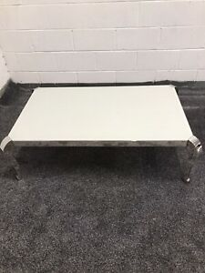 Greenapple Moulin Coffee Table, Painted Glass & Polished Stainless Steel RRP511