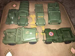 Lot of six Plastic vintage Military vehicles #739