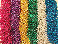 144 Bright Mardi Gras Beads Party Favors Necklaces Metallic 12 Doz Lot