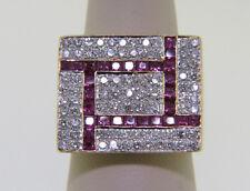 Princess Cut Ruby and Pave' Round Diamond Geometrical Design 18k YG Sz 7.50