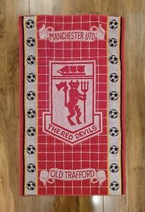 Manchester United, The Red Devils Towel, Vintage Football 90s, Old Trafford