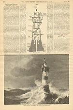 Rothesand Lighthouse, Bremen, Germany, North Sea Vintage, 1886 Antique Art Print