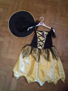 HALLOWEEN -GOLD AND BLACK WITCHES SPIDERWEB DRESS & HAT-BNWOT - AGE 3-5 years