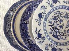 "Vtg Mismatched China & Ironstone 4 Dessert Cake Plates 6.5"" to 7"" Blue & White"