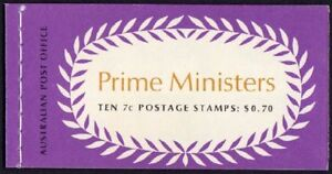 1972  AUSTRALIAN PRIME MINISTERS (FISHER/HUGHES) STAMP BOOKLET 70c 10x 7c