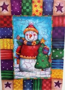 Patchwork Snowman Standard House Flag by Evergreen, Colorfast , #3641