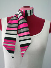 Rock n Roll/Rockabilly Neck Scarf/ Hair Tie. Stripes. Hot Pink/Black