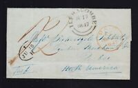 UK 1847 Stampless Transatlantic Letter Ilfracombe to Quebec Canada