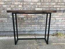 Industrial Metal Frame Console Table Hallway Furniture Solid Oak Wooden 100x25cm