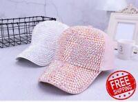 SALE Rhinestone Baseball Cap Women Sparkly Glitter Bling Hat Snap Back Caps New