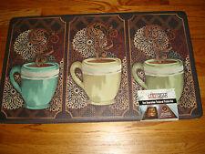 Anti Fatigue Memory Foam Chef Gear Kitchen Mat Rug 18x30 COFFEE Cup TRIO