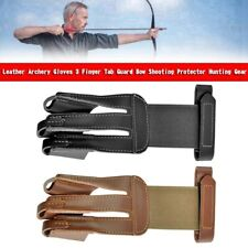 New listing Leather Archery Gloves 3 Finger Tab Guard Bow Shooting Protector Hunting Gear YU
