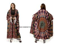 Women Peacock Mandala Blue Kimono Bikini Cover Up Cardigan Long Sleeve Sunscreen