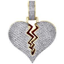 "10K Yellow Gold Diamond Shattered Broken Heart Love Pendant 1.5"" Pave Charm 1 CT"