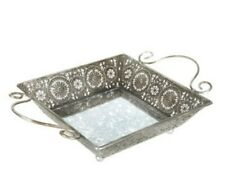 Silver Mirrored Metal Serving Tray Large Ottoman Tray Elegant Chic Decor