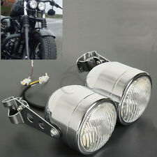 Chrome Twin Dual Front Headlight W/ Bracket For Sport Dirt Bike Street Fat Boy