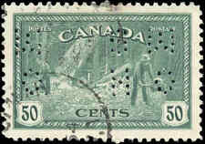 1946 VF Used Canada 50c Perforated 4-Hole Scott #O272 Peace Issue Stamp