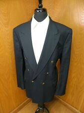 Mens Blazer Sport coat Jacket Oscar De La Renta 46L Navy Blue Wool Blend N#104