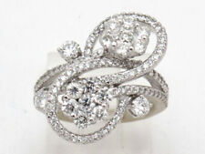 Right Hand Ring 3.06ct 6.2g 14k White Gold Round Diamond Cluster