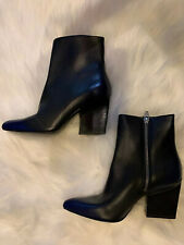 New Alexander Wang Black Leather Boots With Side Zipper SZ 37.5 US 7