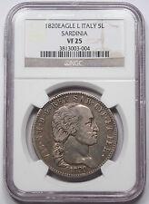 Italy Sardinia 1820 Eagle L 5 LIRE Coin NGC VF25 KM-113 Italian States Vittorio