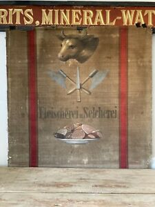 Antique German Hand Painted Butchers Display Sign