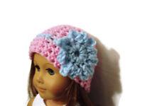 "Crochet Hat Fits American Girl Dolls 18"" Doll Clothes Pink w/ Lt Blue Flower"