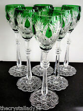 "6 Faberge Czar Imperial Emerald Green Cased Cut To Clear 10 5/8 "" Wine Goblets"
