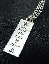 Ever Mind The Rule Of Three bar tag pendant necklace wicca pagan witch goddess