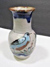"""Ken Edwards El Palomar Tonala Mexican Floral Bird Pottery Vase Signed 5.75"""""""