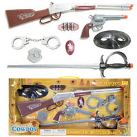 Realistic Wild West Cowboy Toy Gun Pretend Play Set Kids Rifle Revolver Handcuff