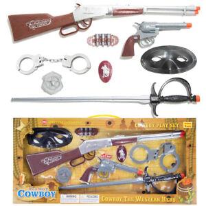 Realistic Wild West Cowboy Toy Gun Pretend Play Set Kids Rifle Revolver Handcuff