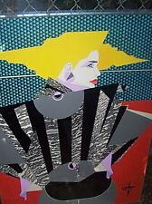 ORIG 1980's SIGNED ART FASHION FIGURE COLLAGE MIXED MEDIA NAGEL/DECO INFLUENCE