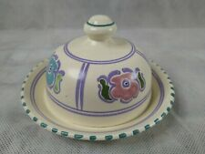 More details for vintage hand painted honiton pottery floral  small butter dish with lid 12cm dia