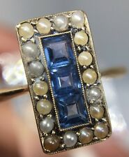 Stunning Victorian Antique Sapphire Pearl Yellow Gold Ring Large Panel Front