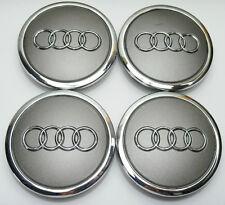 4 X Rueda De La Aleación Centro Tapacubos 69mm Audi Gris S3 S4 A3 A4 A6 A8 Tt Rs4 Q5 Q7