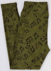OS LuLaRoe One Size Leggings Music Notes Green Heathered Tan NWT E84