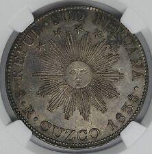 Cuzco South Peru Silver 8 Reales 1838 NGC AU58
