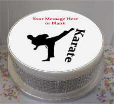"""Novelty Personalised Male Karate Silhouette 7.5"""" Edible Icing Cake Topper"""