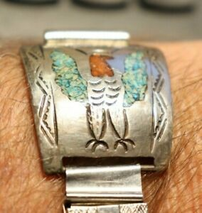 Sterling Inlaid Turquoise/Coral Watch Band Signed Nezzie