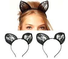 Black Lace Cat Ears Headband Hairband Hen Party Bride Hair Fancy Dress Cosplay