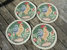 New listing Vintage Original Cotton Hooked Rug Rooster Chair Seat Pads Four Matching
