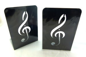 Music Themed Bookend - A Pair of Solid Black Treble Clef Design Metal Book St...