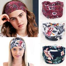 BOHO Wide Cotton Stretch Headband Turban Women Yoga Knotted Hairband Wrap New
