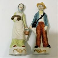 Porcelain People Figurines Man With Canteen Women carrying Water Bucket & Wood