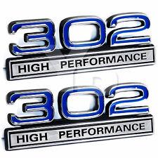 "302 5.0L Engine High Performance Engine Emblems in Blue & Chrome - 4"" Long Pair"